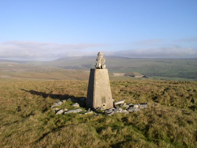 The view towards Great Whernside on my first visit with stones piled on the trig point