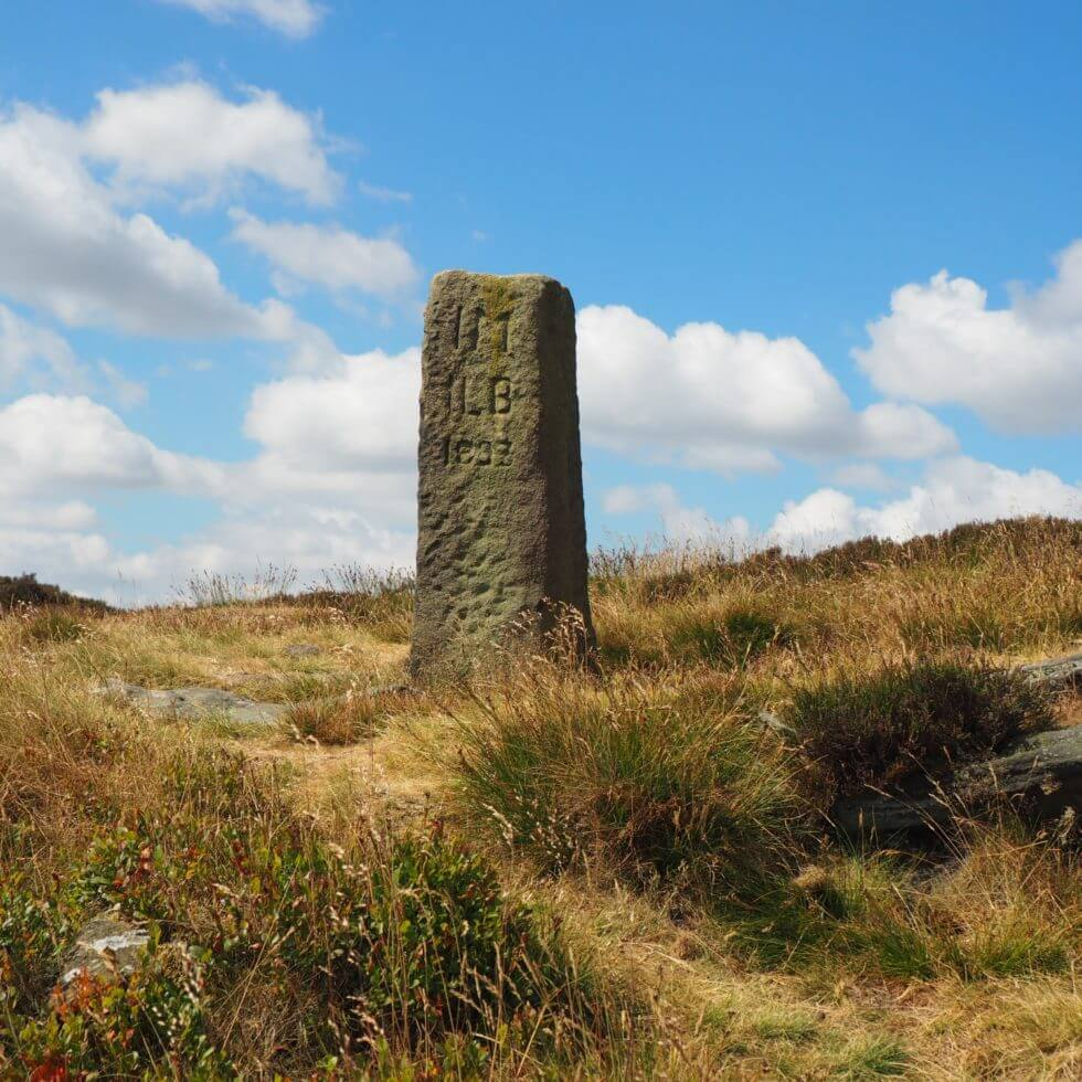 The Lanshaw Lad boundary stone between Ilkley Moor and Burley Moor