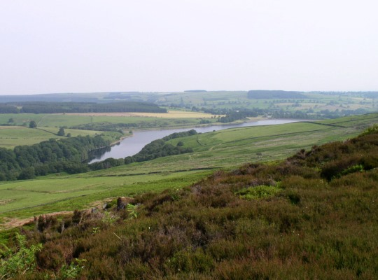 Looking down on Leighton Reservoir from the edge of Arnagill Moor