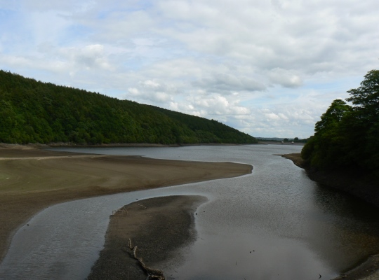 The water levels of Lindley Wood Reservoir were particularly low when I visited in the summer of 2011