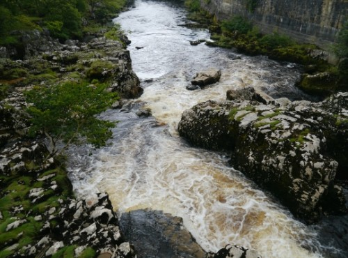 Looking down on Linton Falls from the footbridge