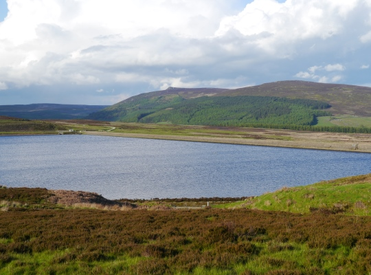 Looking across Lower Barden Reservoir towards Simon's Seat and Carncliff Top