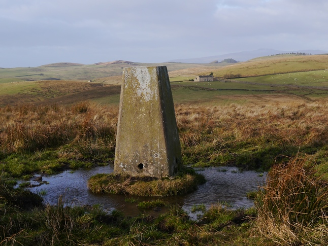 The Newton Moor trig point looking towards Ingleborough