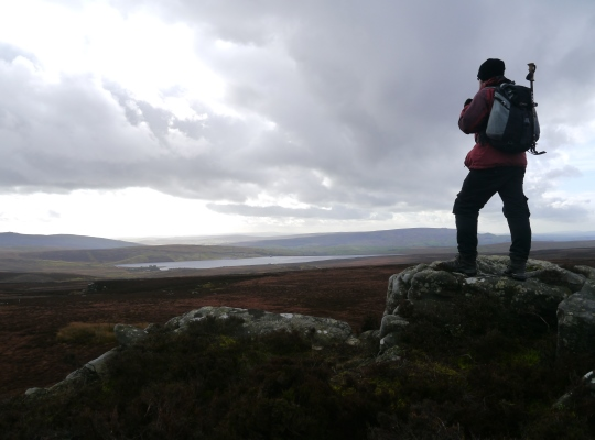 Looking down to Grimwith Reservoir from the Wig Stones