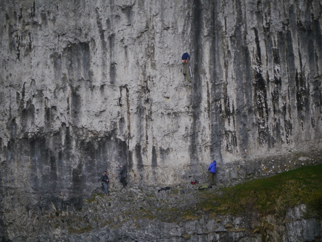 Rock climbers on Malham Cove