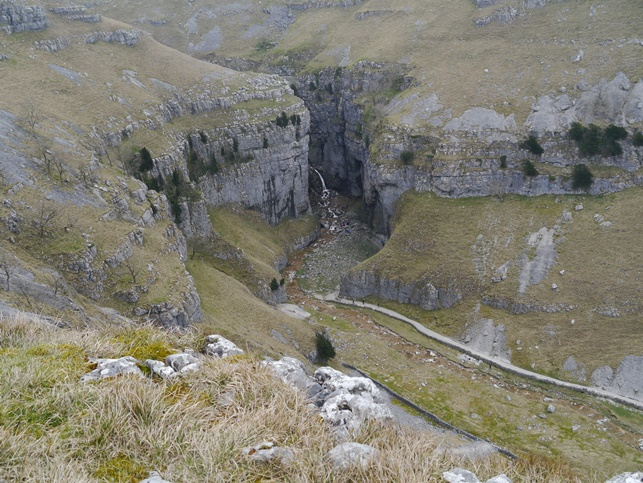 Looking down from above Gordale Scar