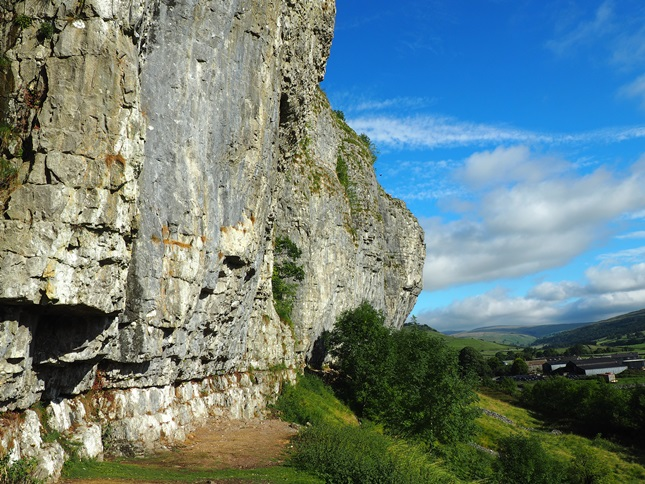 Looking north along the face of Kilnsey Crag