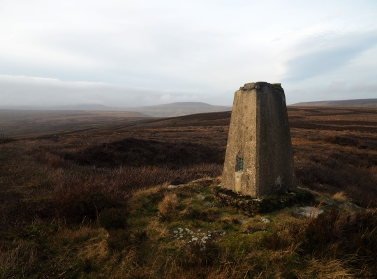 The trig point on Rain Stang, a subsidary summit of Woodale Moss