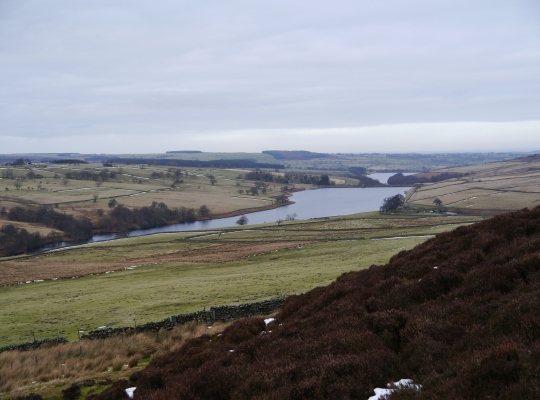 Looking down on Roundhill Reservoir from the path descending Low Ash Head Moor