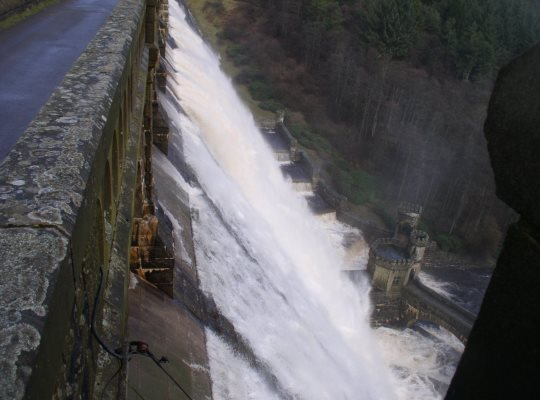 The awe inspiring sight of water being released down the 71m high dam