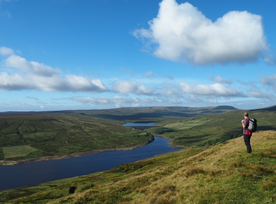 The superb view of Scar House Reservoir from above Carle Fell Quarry