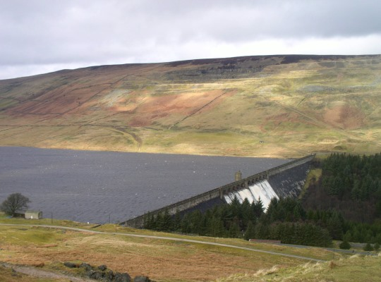 Scar House Reservoir from the bridleway descending Woodale Moss. Note the quarry workings where stone was extracted to build the dam