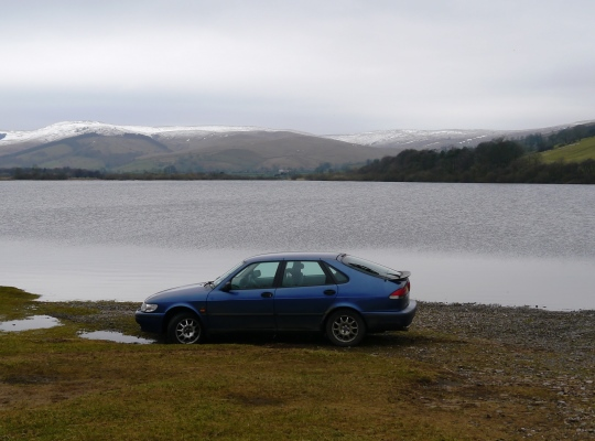 My car parked on the shore of Semerwater in March 2015