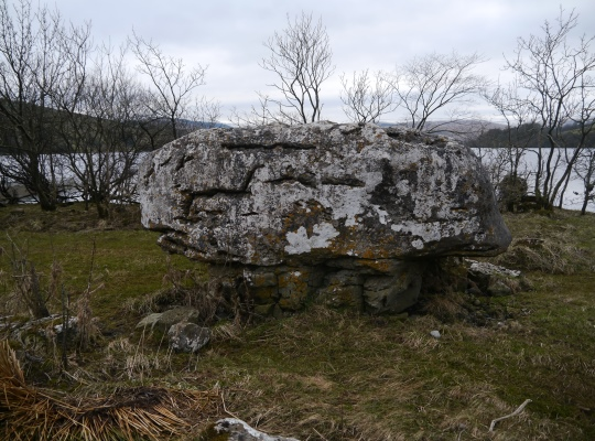 One of the large stones said to have been thrown to the lake by a giant from high up on Addlebrough