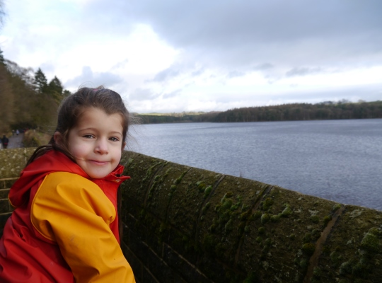 My daughter Rhiannon enjoying the view of Swinsty Reservoir from the dam in Dec 2012