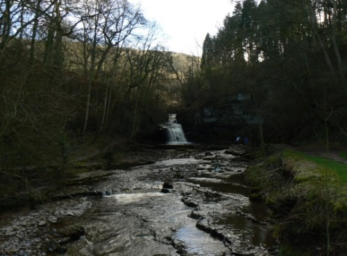 Looking along Walden Beck towards Cauldron Falls, also known as West Burton Falls