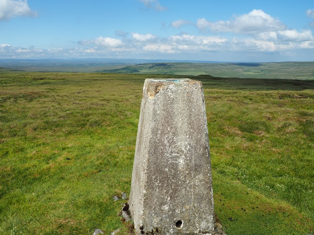 The view north towards Teesdale from the Whaw Moor trig point