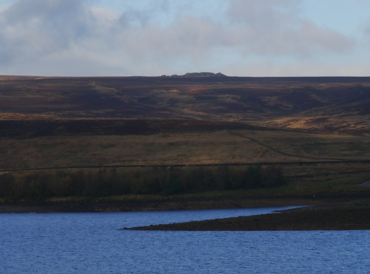 Looking acrosss Grimwith Reservoir to the distant Wig Stones