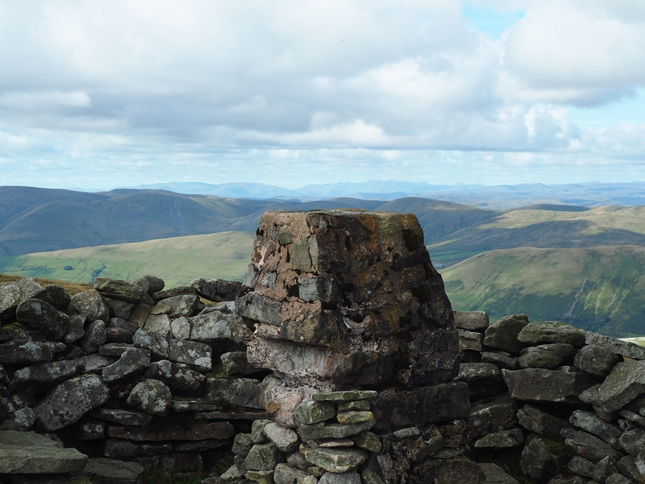 Looking across the Howgill Fells to the Lake District from the trig point