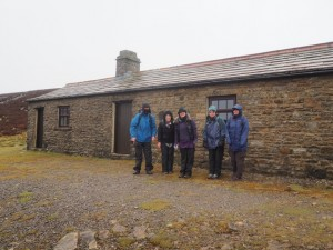 Outside the shooting hut that provided much needed respite from the weather