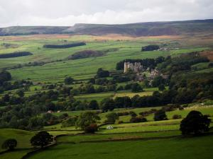 Looking back down to Bolton Castle