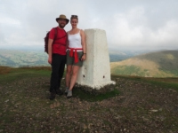 By the trig point on the top of Winder