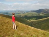Lisa enjoying the view of the western Howgill Fells