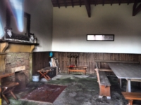 The slightly sinister interior of the shooting lodge