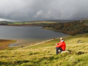 Stopping to admire the view of Malham Tarn on the way up to Great Close Hill