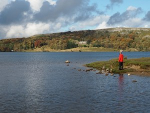 Enjoying the views of Malham Tarn from Tarn Foot