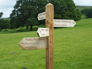 Sign post outside Barbon