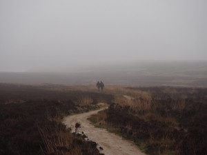 Sam and Tony heading across the murky moor