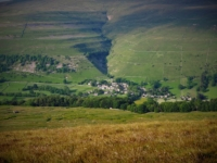 The view looking down at Buckden from near the tarn