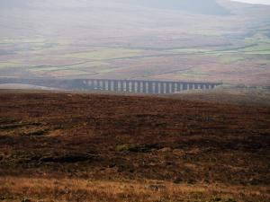A close up of the Ribblehead Viaduct from Crag of Blea Moor