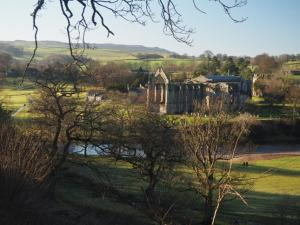 Looking back at the priory ruins