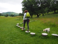 Lisa on one of the Wellie Walk installations for children