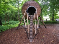 Another installation on the Wellie Walk - this time a giant squirrel's dray