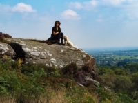 Lisa and Barry on an outcrop with a super view south towards Harrogate