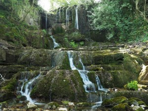The lovely little waterfall in Newbiggin