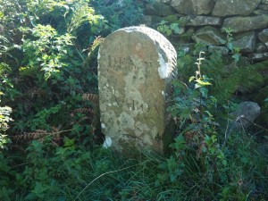 A boundary stone near the cattle grid