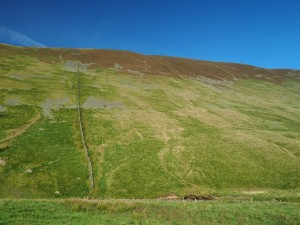 My route up on to Calf Top was following this wall