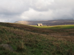 Catrigg Barn with Fountains Fell in the distance