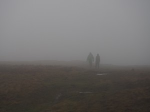 The fog got thicker as we climbed higher on to Conistone Moor