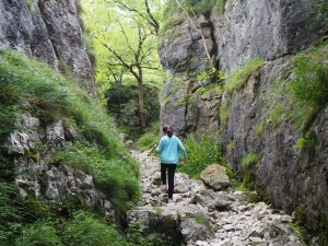 Rhiannon walking through Gurling Trough