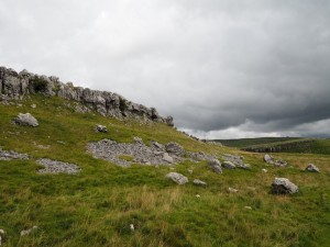 The limestone scar above the path to Conistone Pie