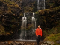 By the upper two sections of the Cow Close Gill waterfall