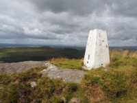 The white trig point on Crookrise Crag