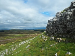 The limestone scar below the trig point