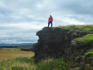 Posing on the quarried summit of Hardendale Nab