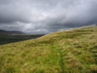 Dramatic skies above the thin path on Moughton